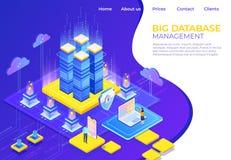 Concetto isometrico della base di dati Pagina di atterraggio di tecnologia di affari del server, pagina Web infographic di affari illustrazione di stock