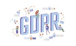 Concetto isometrico della gente di legge di GDPR Le grandi lettere 3D piano dei piccoli uomini come i dati generali del lucchetto Immagini Stock