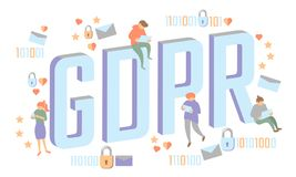 Concetto isometrico della gente di legge di GDPR Le grandi lettere 3D piano dei piccoli uomini come i dati generali del lucchetto Fotografia Stock