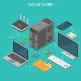 Concetto isometrico della rete di trasmissione di dati Immagine Stock Libera da Diritti