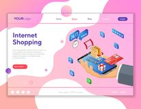 Concetto isometrico di compera di pagamenti online di Internet illustrazione vettoriale