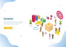 Concetto isometrico di donazione della gente per il homepage di atterraggio del modello del sito Web o l'insegna - vettore royalty illustrazione gratis