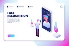 Concetto isometrico di riconoscimento di fronte Analizzatore dello smartphone di verifica di identificazione Personale identifich illustrazione di stock