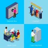 Concetto isometrico di servizi del credito Scatola di deposito, cassiere, impiegato della Banca, cash machine Illustrazione Vettoriale