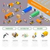 Concetto isometrico di servizi di distribuzione e di immagazzinamento Stoccaggio e distribuzione del magazzino Modello pronto per Immagine Stock
