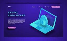 Concetto isometrico di sicurezza di Internet Traffichi la crittografia, VPN, incisione di antivirus della protezione di segretezz illustrazione di stock