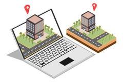 Concetto isometrico di vendita dell'introduzione sul mercato online domestica per le insegne di web, isolata nel fondo bianco, il illustrazione vettoriale