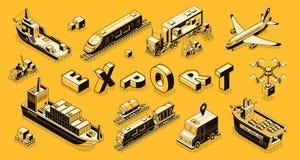 Concetto isometrico di vettore dell'esportazione commerciale del carico illustrazione di stock