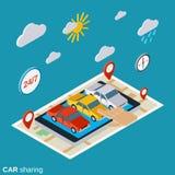 Concetto isometrico di vettore di car sharing Fotografie Stock Libere da Diritti