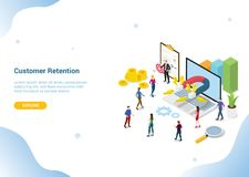 Concetto isometrico per l'insegna del homepage di atterraggio del modello del sito Web - vettore di vendita di conservazione del  illustrazione vettoriale
