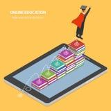 Concetto isometrico piano di istruzione online Fotografie Stock Libere da Diritti