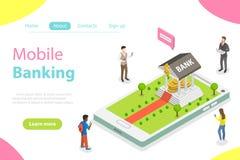 Concetto isometrico piano di vettore di attività bancarie online Immagine Stock