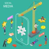 Concetto isometrico piano di vettore di media sociali Fotografia Stock