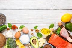 Concetto ketogenic di dieta del cheto, carburatore basso, alto buon grasso, alimento sano Vista superiore fotografia stock