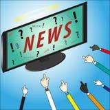 Concetto Le notizie sono il nostro dio su affissione a cristalli liquidi TV con le mani Immagini Stock