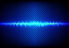Concetto leggero blu astratto con il fondo del modello di punto e dell'onda Immagine Stock