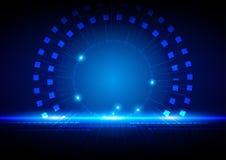 Concetto leggero blu di tecnologia astratta Fotografia Stock