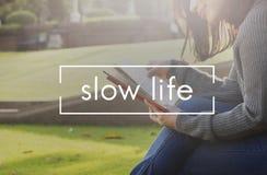 Concetto lento di scelta di silenzio di rilassamento di stile di vita di vita Fotografia Stock Libera da Diritti