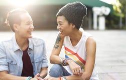 Concetto lesbico di felicità di momenti delle coppie di LGBT immagine stock libera da diritti