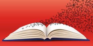 Concetto letterario con un libro aperto da cui lascia le lettere Fotografia Stock