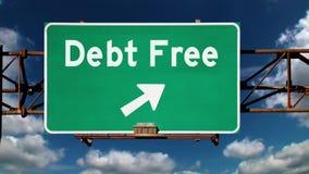 Concetto libero del fondo del segnale stradale di debito archivi video