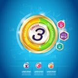 Concetto Logo Gold Kids del calcio e della vitamina di Omega dei bambini Fotografie Stock