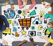 Concetto marcante a caldo di pubblicità di commercio di strategia di marketing online Fotografia Stock