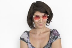 Concetto maturo di signora Cheerful Happy Glasses immagine stock libera da diritti