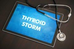 Concetto medico di diagnosi della tempesta della tiroide (malattia endocrina) sulla t fotografia stock