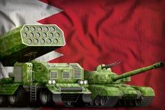 Concetto militare pesante dei veicoli blindati del Bahrain sui precedenti della bandiera nazionale illustrazione 3D illustrazione vettoriale