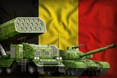 Concetto militare pesante dei veicoli blindati del Belgio sui precedenti della bandiera nazionale illustrazione 3D illustrazione di stock
