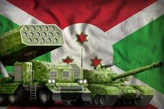 Concetto militare pesante dei veicoli blindati del Burundi sui precedenti della bandiera nazionale illustrazione 3D illustrazione di stock