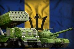 Concetto militare pesante dei veicoli blindati delle Barbados sui precedenti della bandiera nazionale illustrazione 3D royalty illustrazione gratis