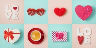 Concetto minimo di giorno di biglietti di S. Valentino con forma del cuore, il contenitore di regalo e la c fotografia stock libera da diritti