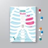 Concetto minimo di salute del modello di stile di progettazione del libro della copertura illustrazione di stock