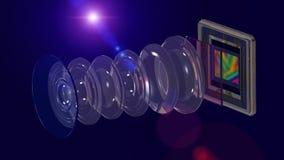 Concetto mobile della macchina fotografica, lente e sensore dello smartphone immagini stock