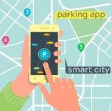 Concetto mobile di app di parcheggio astuto della città Tecnologia di traffico urbano Fotografie Stock