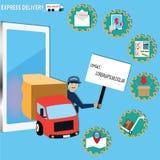 Concetto mobile di applicazione, consegna in camion - vettore Fotografia Stock Libera da Diritti