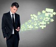 Concetto mobile di attività bancarie Fotografia Stock Libera da Diritti