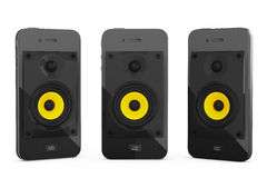 Concetto mobile di musica Telefoni cellulari con gli altoparlanti rappresentazione 3d Immagini Stock