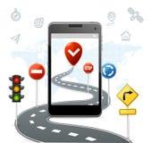 Concetto mobile di navigazione con i segnali stradali di traffico Vettore Immagine Stock Libera da Diritti