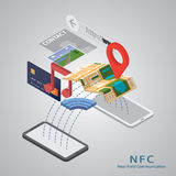 Concetto mobile di pagamento con un simbolo di credito Fotografia Stock