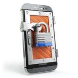 Concetto mobile di protezione o di sicurezza Smartphone con il lucchetto illustrazione di stock