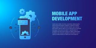 Concetto mobile di sviluppo di app Progettazione di interfaccia mobile, stile piano di tecnologia del App illustrazione di stock