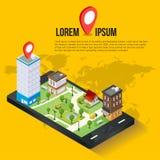 concetto mobile isometrico di navigazione di 3d GPS Immagini Stock