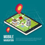 concetto mobile isometrico di navigazione di 3d GPS Fotografie Stock