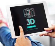 concetto moderno dell'esposizione futuristica tridimensionale 3D Fotografie Stock