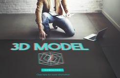 concetto moderno dell'esposizione futuristica tridimensionale 3D Immagini Stock