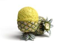 concetto moderno della bugia della palla del gelato dell'ananas della crema A del gelato alla frutta Fotografia Stock