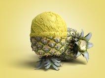 concetto moderno della bugia della palla del gelato dell'ananas della crema A del gelato alla frutta Fotografia Stock Libera da Diritti